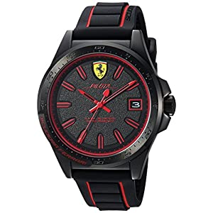 Ferrari Men's 'Pilota' Quartz Stainless Steel and Rubber Casual Watch, Color:Black (Model: 830421)
