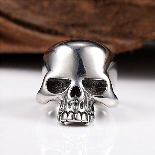 INRENG Anillo de la cabeza del cráneo fresco del acero inoxidable 316L Punk Nueva joyería Tamaño 9