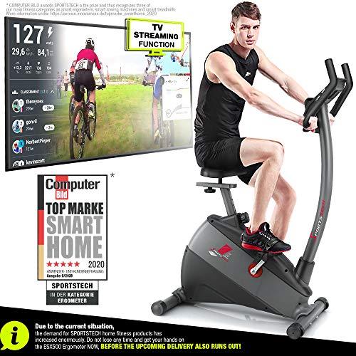 🥇 Sportstech ESX500 Bicicleta estática – Marca de Calidad Alemana – Vídeos en Directo y App multijugador + Pantalla de 5