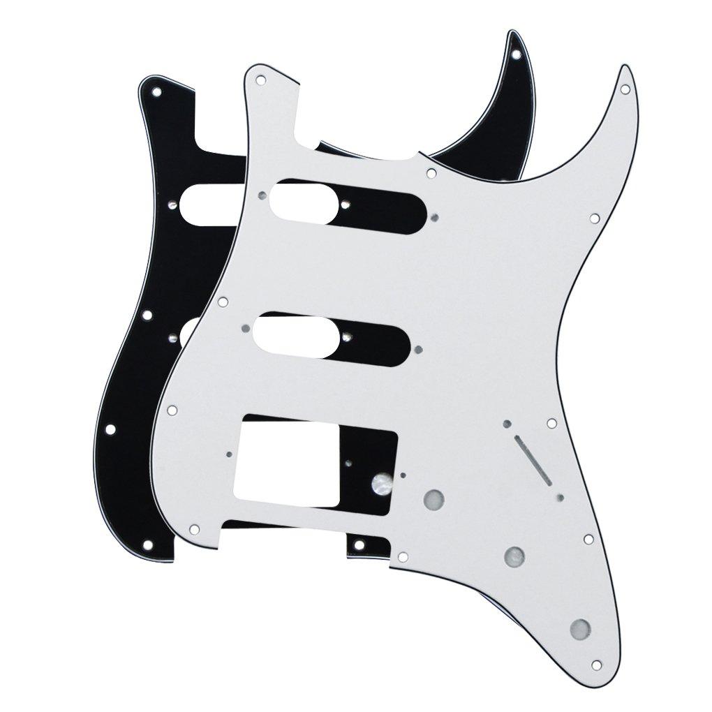 IKN 2pcs 4 pliegues 11 platos SSH Estilo Scratchplate Pickguard Guard Plate para American/mexicano Standard Fender Strat,Negro y Blanco: Amazon.es: ...