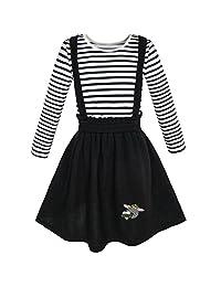 Sunny Fashion 2 Pieces Set Girls Dress T-shirt Suspender Skirt School Size 4-12