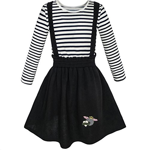 Mime Halloween Outfit (KL77 2 Pieces Set Girls Dress T-Shirt Suspender Skirt School Size)