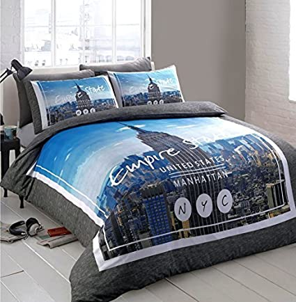 41ae1647664 Single Bed / Empire State New York City / Grey Blue Duvet / Quilt Cover  Bedding Set: Amazon.co.uk: Kitchen & Home