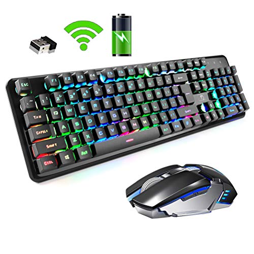 Rechargeable Keyboard and Mouse,Suspended Keycap Mechanical Feel Backlit Gaming Keyboard Mice Combo,Wireless 2.4G Drive Free,Adjustable Breathing Lamp,Anti-ghosting,4800 mAh Battery for Laptop Pc Mac