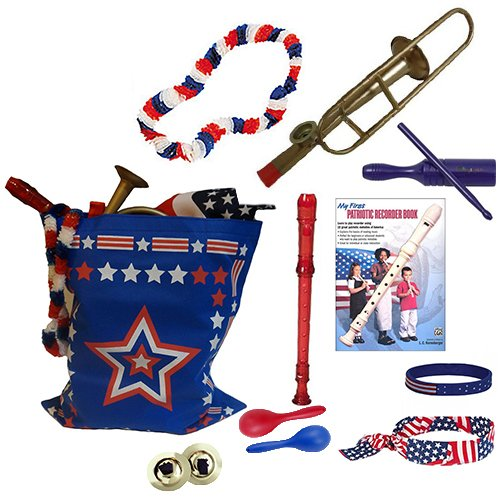 4th Of July Parade Pack for Kids - Patriotic USA Music & Fun Pack Includes: Patriotic Bag: Trombone Kazoo, Red White Blue Lei, Stars & Stripes Bandana, Flag Bracelet, Red Recorder, Blue Tone Block, Patriotic Recorder Book, Red & Blue Maraca Shakers, Finger Cymbals- Perfect 4th of July Party Favor Bag