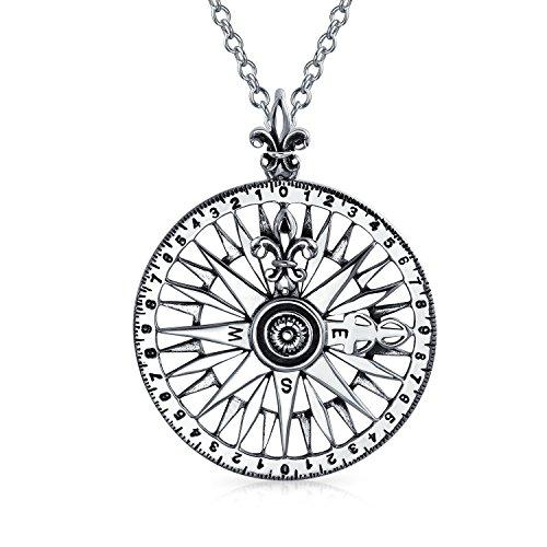 Large Compass Rose Long Distance Friendship Pendant Necklace For Men For Women For Men Antiqued 925 Sterling Silver