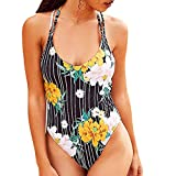 Women One Piece Swimsuits Tummy Control Print Swimwear Hanging Neck Beachwear Slimming Bathing Suit (L, Black)