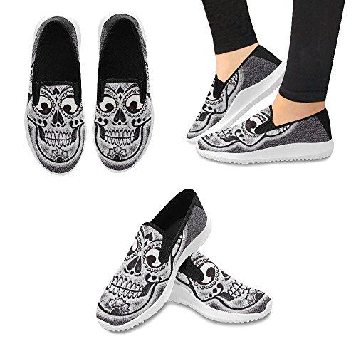 Impronta Di Teschio Di Fiori Modello Donna Slip On Canvas Sneakers Per Donna Skull2