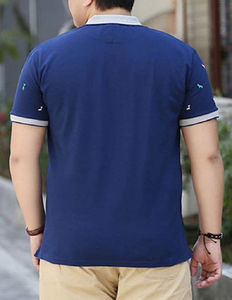 Wofupowga Men Short Sleeve Summer Tops Print Tees Polo Shirts