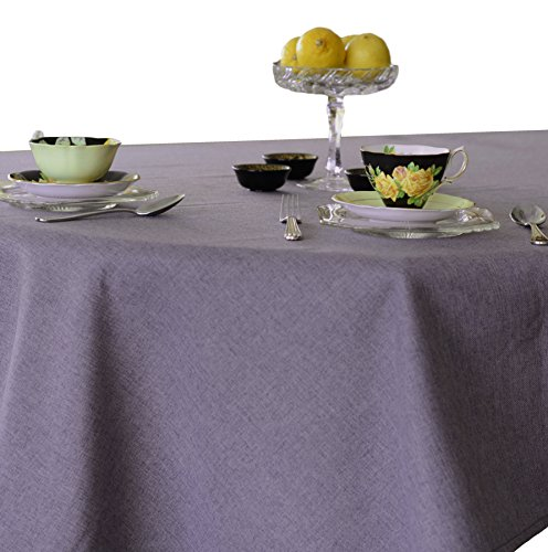 LJ Home Fashions Carly Linen Look Round Tablecloth, 68x106-in, Purple