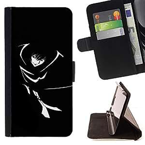 BullDog Case - FOR/Samsung Galaxy S4 IV I9500 / - / Black & White Girl /- Monedero de cuero de la PU Llevar cubierta de la caja con el ID Credit Card Slots Flip funda de cuer