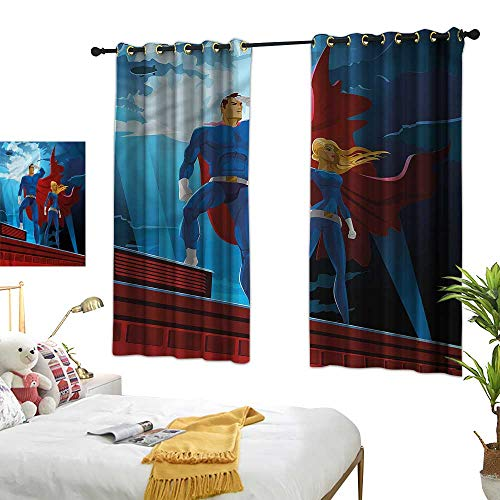 """G Idle Sky Polyester Curtain Superhero Environmental Protection World Justice Defenders 63"""" xL45"""