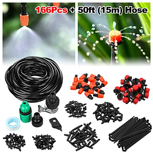 OUTERDO Drip Irrigation Kits, 50ft/15m Plant Watering Kit with Distribution Tubing Hose Adjustable Nozzles, Mist Cooling Irrigation System Automatic Irrigation Set for Garden, Greenhouse, Patio, Lawn