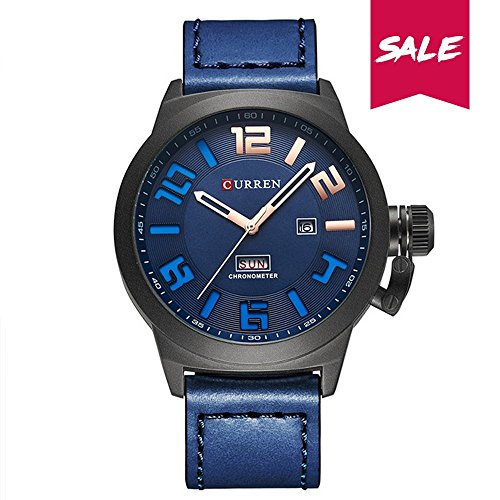 Date Quartz Watch Day (CURREN men's quartz watch Date and day of the week display leather waterproof watch Japan imported movement PU material strap 8270 (Black-blue))