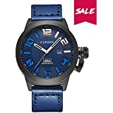 CURREN men's quartz watch Date and day of the week display leather waterproof watch Japan imported movement PU material strap 8270 (Black-blue)