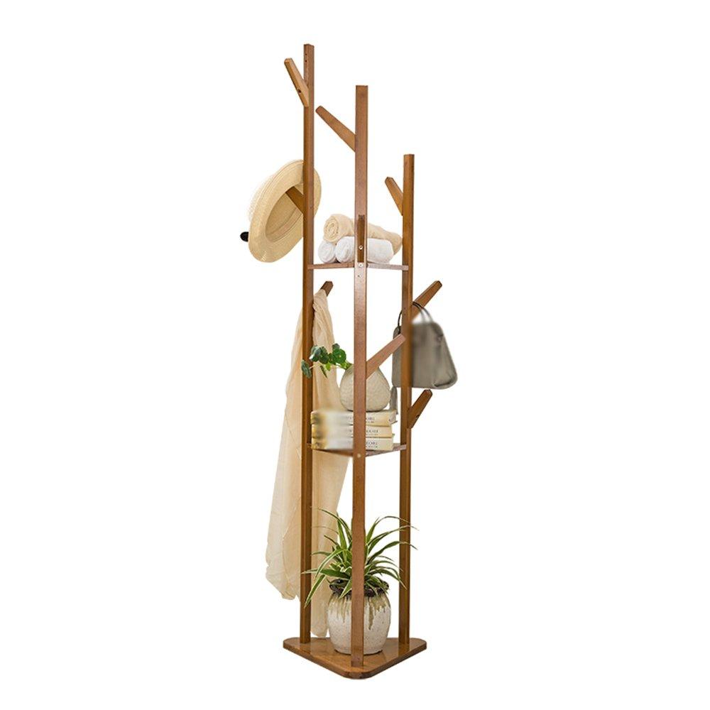 Clothes Rack Floor / 9 Hooks Bedroom Hanger / Simple Solid Wood Living Room Clothes Rack Hanging Hanger / Three-Layer Shelf (38 170cm)
