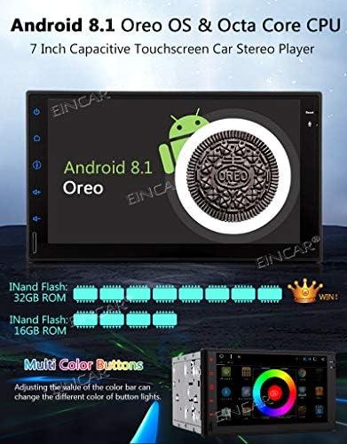 EINCAR Android 8.1 Oreo 7 Pouces Voiture Radio st/ér/éo Multi-/écran Tactile Octa Base Double Din dans Le Tableau de Bord de Navigation GPS Bluetooth Lecteur st/ér/éos USB Autoradio SD 3G 4G WiFi OBD2