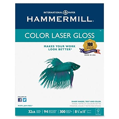 Hammermill Paper, Premium Laser Gloss Paper, 8.5 x 11 Paper, Letter Paper Paper, 32lb, 94 Bright, 8 Packs / 2,400 Sheets (163110C) Acid Free Paper International Paper