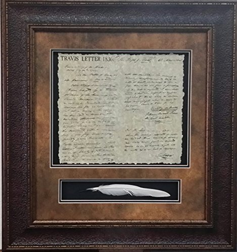 Antique and Historic Art - Travis Letter W/QUILL - SHADOWBOX 3D Art - 27X29 INCHES ()