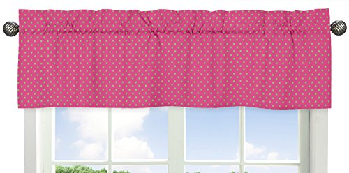 (Sweet Jojo Designs Pink and Lime Polka Dot Print Window Valance for Pink and Green Jungle Friends Collection)