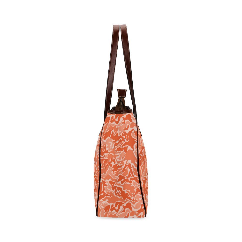 InterestPrint Custom Tote Bags Camo Orange Camouflage Pattern Print Classic Tote Bag