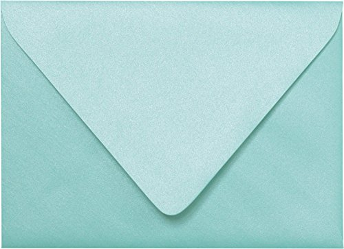 Outer Envelopes - Outer A-7.5 Topaz Blue Metallic Euro Flap Envelopes (5 1/2