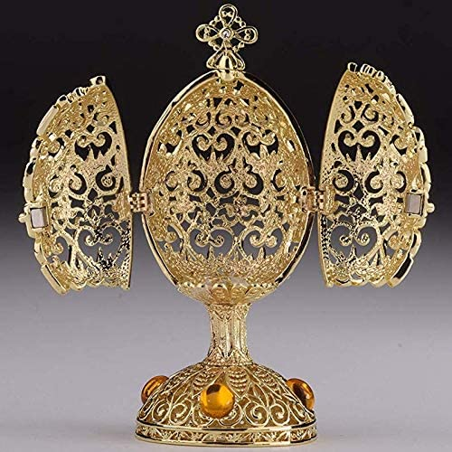 Metal Faberge Egg Trinket Box Multi color Hand Painted Easter Egg Box w Crystals