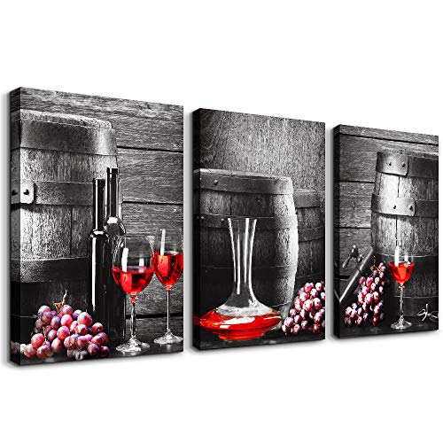 """Black and white barrel Red wine Canvas Wall Art for kitchen Canvas Prints Artwork dining room Wall Decor painting 16"""" x 24"""" 3 Piece modern Framed Ready to hang hotel restaurant Home Decorations"""