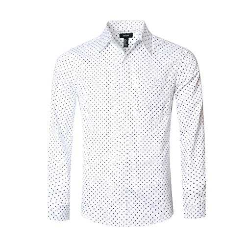 NUTEXROL Men's Casual Cotton Polka Dots Long Sleeve Dress Shirts(White,2XL)