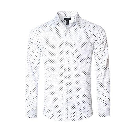 - NUTEXROL Men's Casual Cotton Polka Dots Long Sleeve Dress Shirts(White,M)