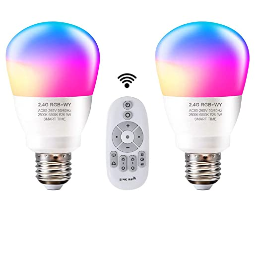 Aomilai - Bombilla LED de 2,4 G con luz regulable, intensidad regulable,