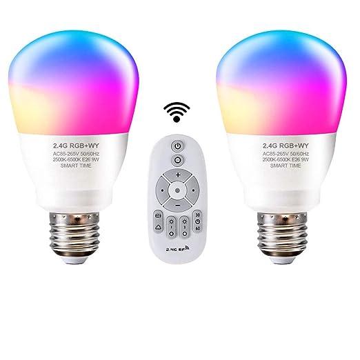 Amazon.com: Bombilla inteligente de luz Aomilai de 2,4 G LED ...