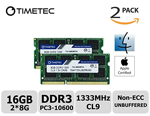 Timetec Hynix IC Apple 16GB Kit (2x8GB) DDR3 1333MHz PC3-10600 SODIMM Memory Upgrade For MacBook Pro 13-inch /15-inch /17-inch Early/Late 2011, iMac 21.5-inch Mid/Late 2011(16GB Kit (2x8GB)) (Apple Mac Pro Memory)