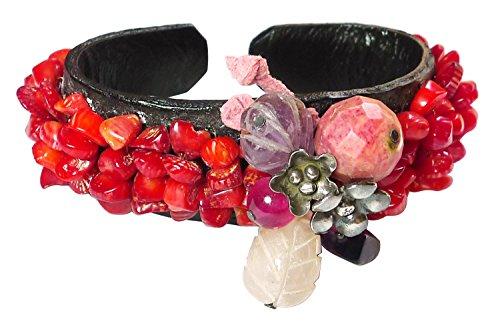 Price comparison product image BDJ Unique Beautiful Assorted Red Tone Gemstones Leather Open Cuff Bangle Bracelet (PNS02)