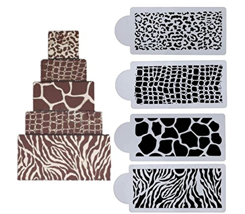 Other Animal Print, Zebra, Snake, Giraffe, Leopard Cake Decor Border stencils 4 pack .