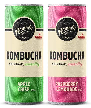 Remedy Raw Kombucha Tea – Sparkling Live Cultured Drink – Sugar Free Raspberry Lemonade & Apple Crisp Twin Pack – 24 250ml Cans