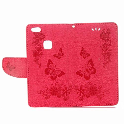 Yiizy Huawei P10 Lite Custodia Cover, Farfalla Design Sottile Flip Portafoglio PU Pelle Cuoio Copertura Shell Case Slot Schede Cavalletto Stile Libro Bumper Protettivo Borsa (Rose Red)