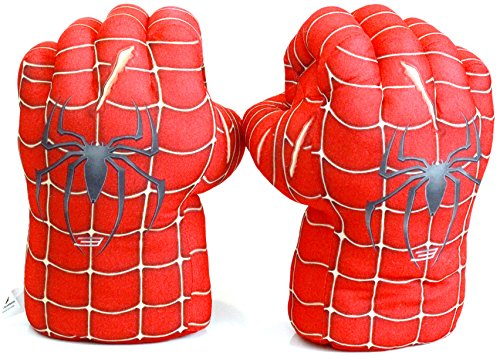 FAIRZOO Spider-Man Gloves Smash Soft Plush Fists Pairs Costume Red