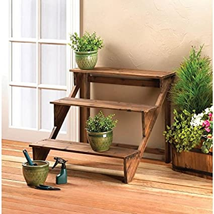 Garden Planters Multi Tiered Wooden Flower Plant Stand Corner Home Indoor  Outdoor Steps Patio Decor