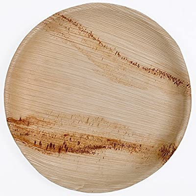 """Green Atmos 100 Pack - 10"""" Shallow Round Party/ Wedding Dinner Buffet Plate Biodegradable, Compostable And Eco-friendly Disposable Areca Palm Leaf Plates"""
