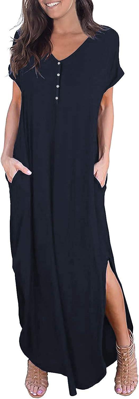 WOOSEA Women's Casual Loose Pocket Long Dress Short Sleeve Split Maxi Dresses