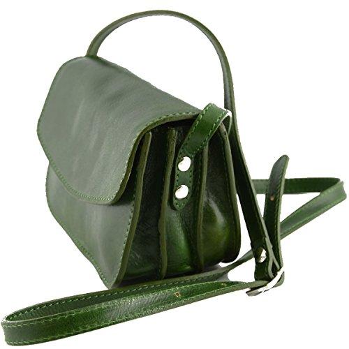 Mini Borsa Donna Tracolla In Vera Pelle 3 Scomparti Colore Verde - Pelletteria Toscana Made In Italy - Borsa Donna