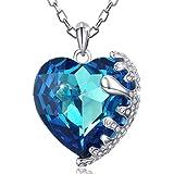 MARENJA Cristal-Collares Mujer Corazón Gargantilla Chapado en Oro Blanco Cristal Azul 40-45cm