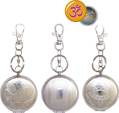 Set Taschenascher rund chrom Ø 50mm mit Zigarettenablage + Aum Ansteck-Button 25mm - Taschen Aschenbecher Taschenaschenbecher (silber mit Anhänger)