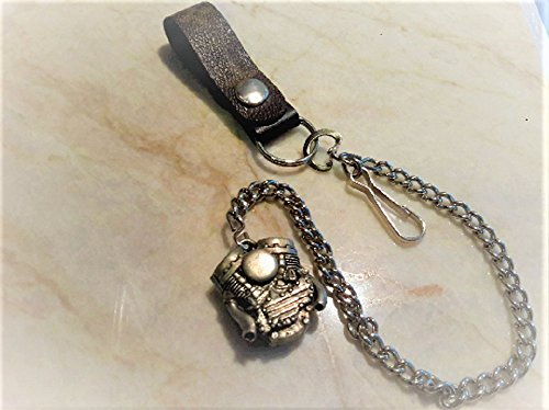 Belt Loop Moto Biker Punk Chain Key Ring Handmade, Custom made, fashioned with with authentic up-cycled Louis Vuitton monogram canvas upcycle, re-purpose