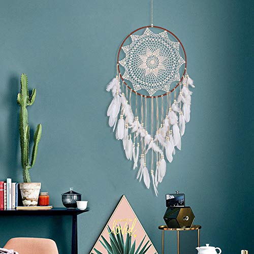 Tuscom White Feathers Handmade Pearl Dream Catcher Ornament Gift|for Christmas, Girl Room Decoration, Mysterious Blessing Gift (110 cm) (White)