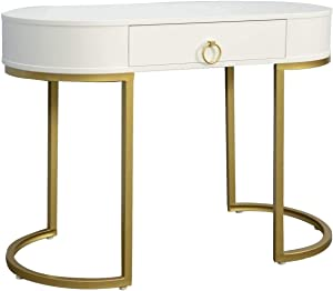 Nathan James Leighton Small Oval Glam Brass Accents, Vanity or Writing Desk for Home or Office, White/Gold