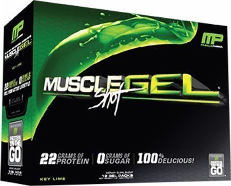Muscle Pharm MuscleGel Shot Key Lime 12 Gel Packs Fat Loss System