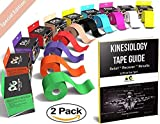Physix Gear Sport Kinesiology Tape - Free Illustrated E-Guide - 5cm x 5m Uncut Roll - Best Pain Relief Adhesive for Muscles, Shin Splints Knee & Shoulder - 24/7 Waterproof Therapeutic Aid (2PK NUDE)