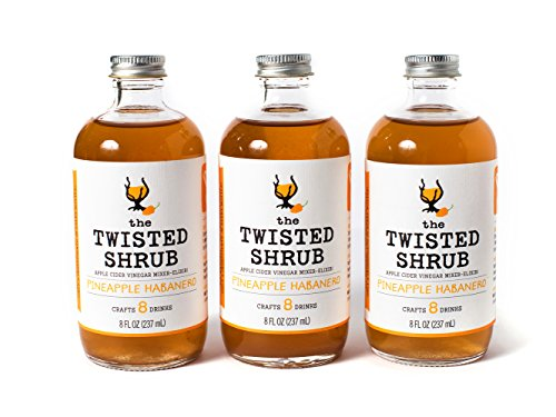 The Twisted Shrub - PINEAPPLE HABANERO (Pack of 3) - Apple Cider Vinegar drink mixer for healthier beverages
